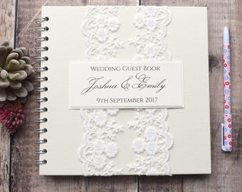 Vintage Lace Wedding Guest Book, Handmade and Personalised Guestbook for Weddings with Pretty Ivory Lace