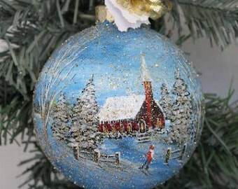 Winter Scene Ornament - Hand Painted Ornament - Winter Scene Ornament - Hand Painted Ornament - Christmas Gift Glass Ornament Painted