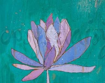 Lotus Purple Teal Canvas Print by Jennifer Mercede 24X24