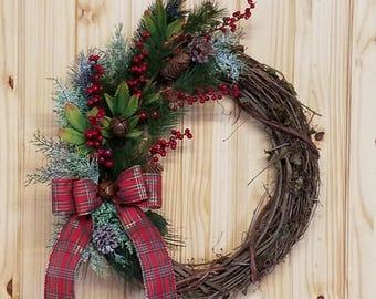 Winter Wreath, Holiday Wreath, Door Wreath, Country Holiday Wreath