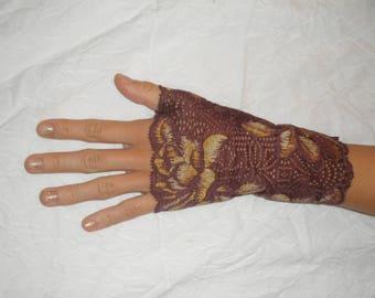 Fingerless gloves lace plum, Khaki floral design
