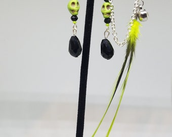 Lime green skull earrings with feather ear cuff