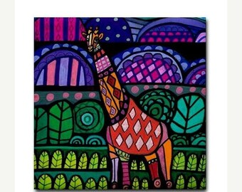 50% SALE- Giraffe Animal Art Tile Ceramic Coaster Print of painting by Heather Galler Gift (HG480)