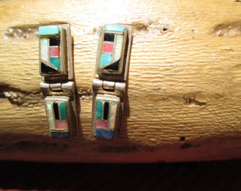 Multi Stone and Sterling Inlay Post Dangle Earrings