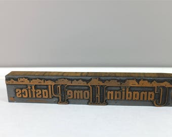 """Vintage industrial metal and wood letterpress print block with skyline from """"Canadian Home Plastics"""" - Retro printers block"""
