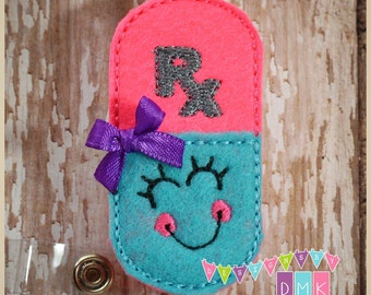 Happy Pill Rx - Brite Pink & Brite Blue - Felt Badge Reel  Retractable ID Badge Holder - Embroidered Name Tag Pull - Alligator or Slide Clip