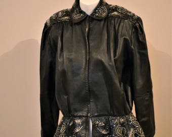 Vintage Leather and Sparkle Peplum 90's Leather Jacket