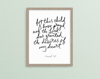 For This Child I Have Prayed  1 Samuel 1:27  |   religious christian nursery