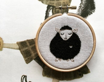 hand embroidery kit   embroidery kit   modern embroidery kit   DIY embroidery   benny black sheep