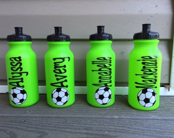 Personalized Plastic Sports Water Bottles Basketball Soccer Football Tennis Many COlors To Choose From