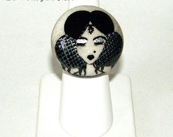 """Designer Bohemian black and grey hand painted porcelain """"Cléa"""" and sterling silver Adjustable ring ring"""