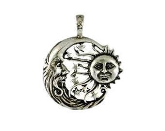 Celestial Moon and Sun Pendant - Pewter, Windblown sun, Crescent moon, Sun jewelry, Moon amulet, Wiccan pagan, Celestial imagery