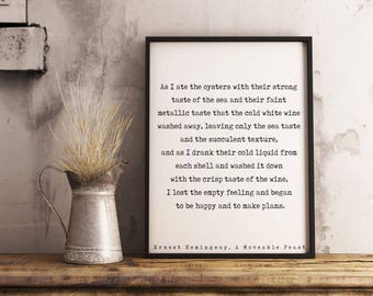 Ernest Hemingway quote print, wine quotes poster print black white from A Moveable Feast book