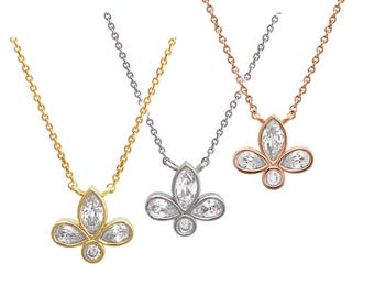 CZ set Fleur de Lis Sterling Silver Necklace/ Flower pendant necklace/ Floral necklace/ Dainty Necklace/ Everyday  Necklace/