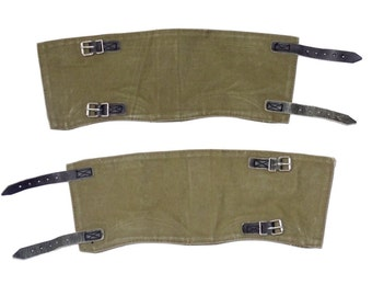 Genuine Ex-Army Gaiters Canvas & Leather Olive Vintage 1960s Boot Shoe Leg Spats Spatterdashes Spatter Guards Steampunk Motorcycle Hiking