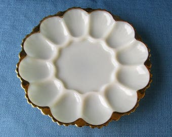 Anchor Hocking Fire King Egg/Relish Plate, Ivory With Gold Trim, Vintage