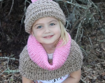 Toddler Hat and Cowl Set, Child Hat and Cowl Set, Kids Winter Wear, Adult Scarf Set, Toddler Cowl, Knit Toddler Winter Wear,  Toddler Scarf