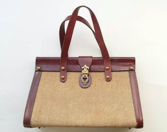 Vintage 50s Casual Fleur De Lis Bag by Jo Le Purse Tan Natural Woven Oxblood Brown Leather Top Handle Hard Shoulder Bag Handbag