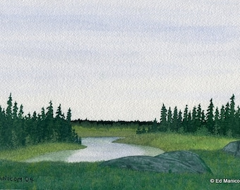 5x7 or 8x10 Archival Giclée Print of Original Landscape Watercolour Painting - Nature, Water, Trees, Park. SFA (Small Format Art)
