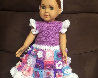 "18"" doll Easter dress and bunny ears  (fits American Girl)"
