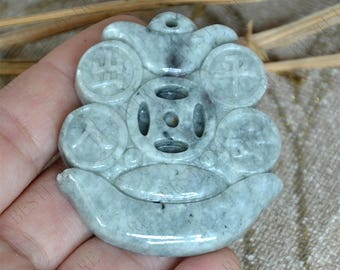 Charm carving Money jadeite Pendant ,jadeite Pendant DIY Jewelry Gemstone Bead pendant ,Natural jadeite Pendant