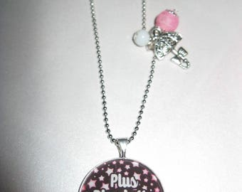 """Necklace retro/vintage silver with 25mm glass cabochon """"more Chatterbox me die"""""""
