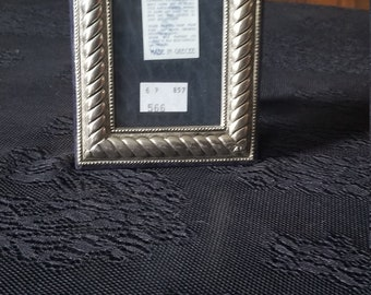 Vintage 950 sterling silver rope design made in Greece small picture frame 4x3 , 3 1/2 X 2 1/4