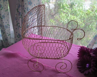 Antique Gold Wire Baby Carriage Pram  - Great for Baby Shower Decorations