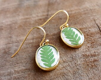 Real Fern Earrings - Fern Frond and Birch Bark Earrings  - Nature Jewelry - Green and Gold Dangle Earrings - Woodland Jewelry