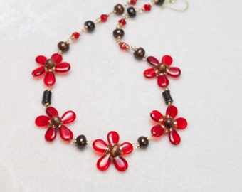 Red Flower Art Necklace Czech Glass and Dark brown dyed bone with brass wire - Summer Current - Art Jewelry by Ardent Life