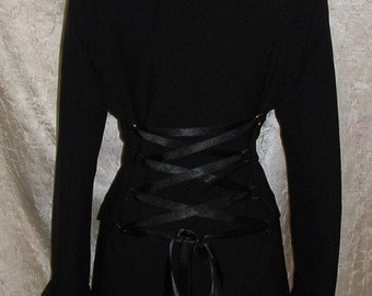 black corset jacket coat LINED cutaway long riding victorian steampunk lace up gothic tailcoat frockcoat  US size 10 12 14