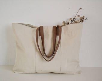 Cotton tote bag, Beach canvas bag,Market bag,Tote bag genuine leather handles,Traveling bag,Large bag,Real leather handles bag,Mother's day