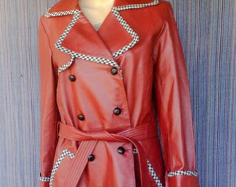 Maroon Leather Trench Coat made by Spiegel FREE SHIPPING!