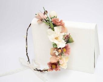 Fall Flower Headpiece \ Brown Beige Wedding Floral Headband Wedding Flower Crown Asymmetric Bridal Floral Crown