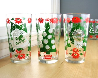 Vintage Happy New Year and Merry Christmas Beverage Set of Six Drinking Glasses