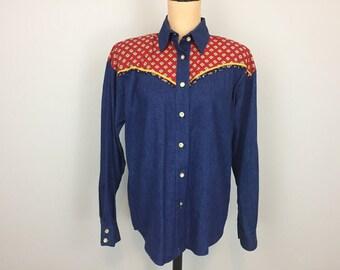 Western Shirt Denim Shirt Womens Western Clothing Blue Jean Shirt Button Up Cowgirl Blue Red Medium Large Womens Clothing Vintage Clothing