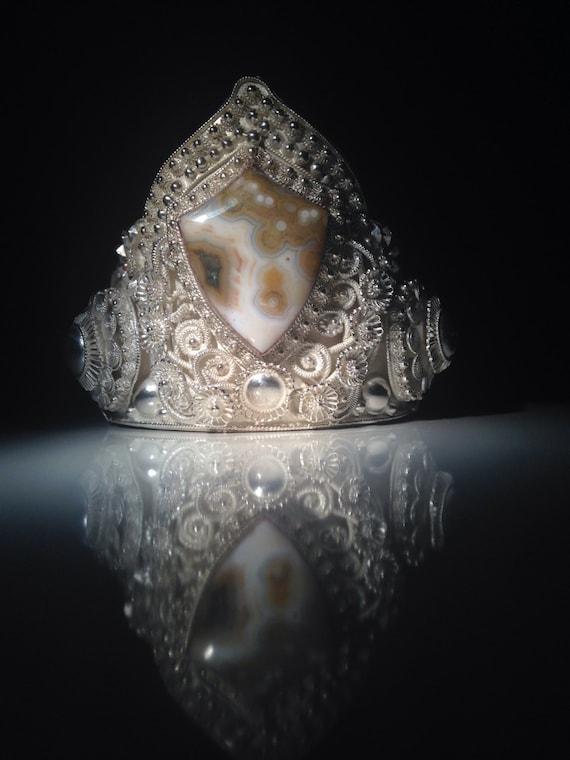 1940 Antique Thai Sterling Silver Cuff with Ocean Jasper Shield Cabochon