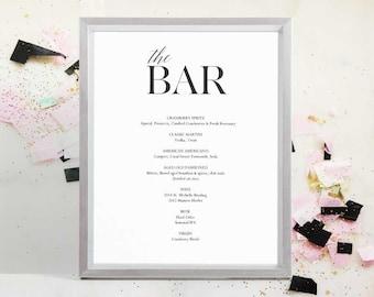 Wine menu printable wedding wine list template drink menu instant download pdf new years drink menu the bar sign wedding sign junglespirit Choice Image