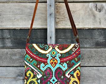 Crossbody Bag, Boho, Genuine Leather, Everyday Purse, Adjustable Strap