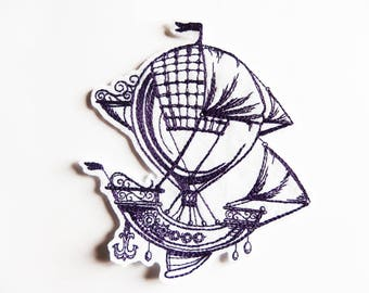 Applied patch embroidery patch fusible steampunk hot air balloon