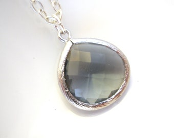 Gray Necklace, Grey Necklace, Charcoal Pendant, Silver Necklace, Glass Necklace, Weddings, Bridesmaid Necklace, Bridesmaid Gift