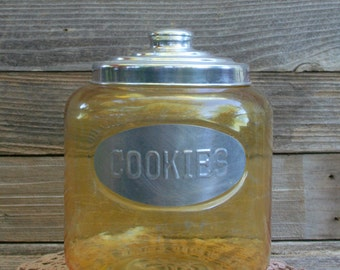 Yellow Glass and Aluminum Lid Cookie Jar / Kitchen Decor