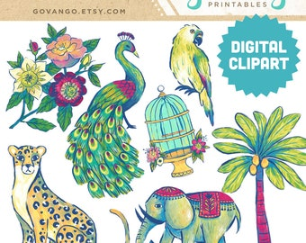 BOHO EXOTIC Digital Clipart Instant Download Illustration Collage Ephemera Commercial Watercolor Indochina India Bohemian Leopard Elephant