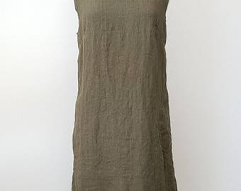 Hand Dyed Linen Dress with Gathering Across Back
