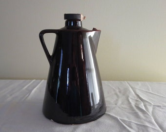 Vintage Leroux Liqueurs Brown Glazed Stoneware Pottery Jug
