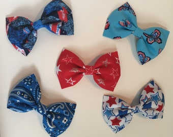 4th of july hair bow. Fabric hair bow. Red white and blue hair bows.