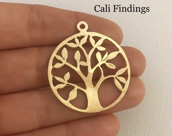 Tree of Life Earring Component, Gold Earring Finding, Tree Earring Hoop, Gold Hoop, Brushed Texture [1682]