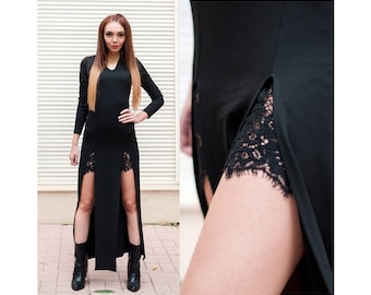 Maxi Dress / Double Slit Maxi Dress / Long Sleeve Maxi Dress / Long Dress With Slit / Dress With Lace Details / Women Dress