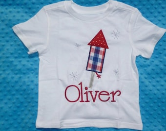 Personalized 4th of July Patriotic Fireworks Firecracker Applique Shirt or Bodysuit Girl Boy