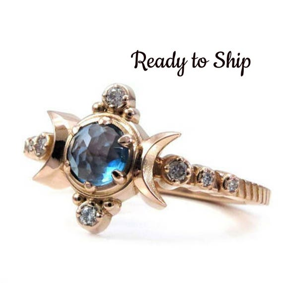 Ready to Ship Size 6-8 - London Blue Topaz Compass Moon Engagement Ring - Rose Gold Jewelry